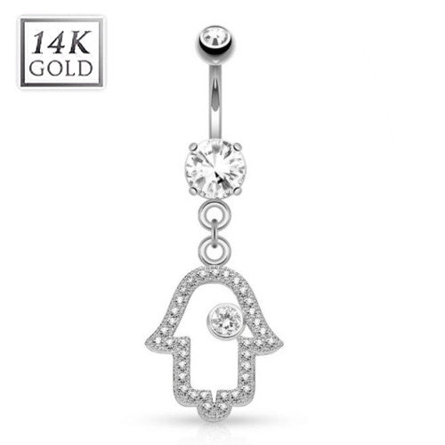 White Gold Hamsa Belly Ring