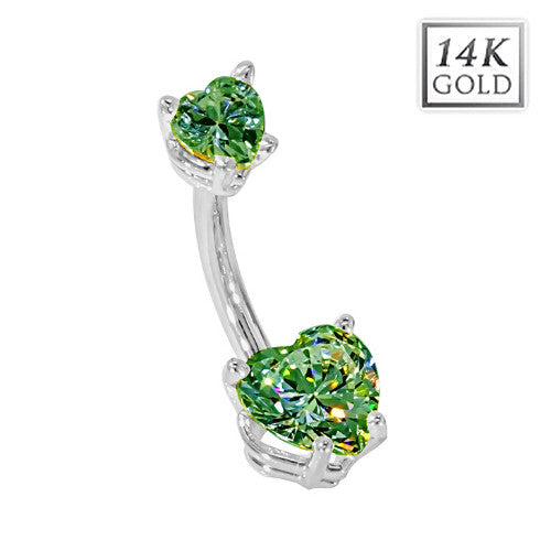 White Gold May Birthstone Belly Bar in Emerald Green Love Hearts