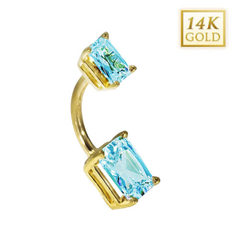 14k Yellow Gold Emerald Cut March Belly Ring