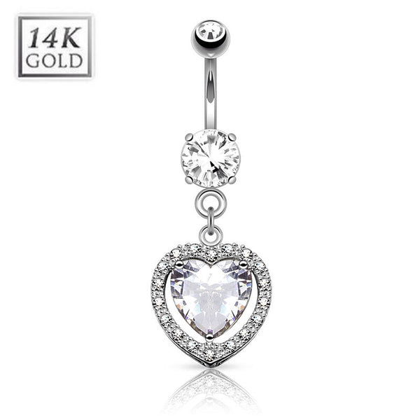 14K White Gold Dangling Love Heart Belly Ring