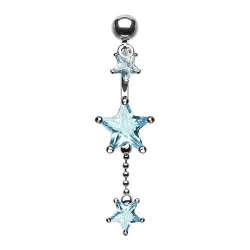 """Arctic Blues"" Glamour Stars Belly Dangle"