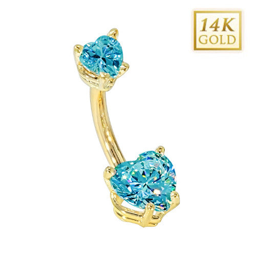 Aquamarine Hearts Solid Yellow Gold Belly Bar (March)