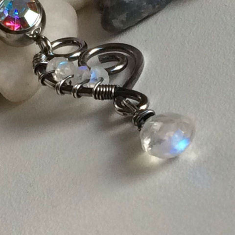 Odyssey Sterling Silver and Moonstone Belly Bar