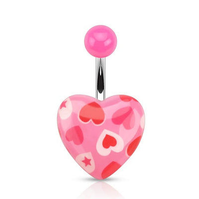 Romantic Heart Print Belly Ring