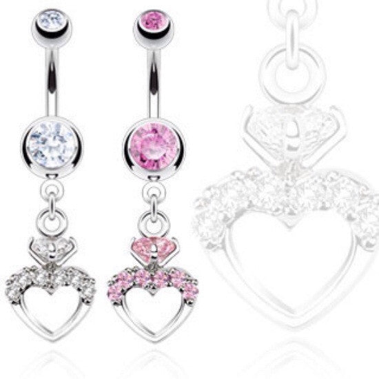 Romantic Heart & Ring Dangling Navel Ring