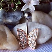 Cute Crystal Butterfly Belly Ring