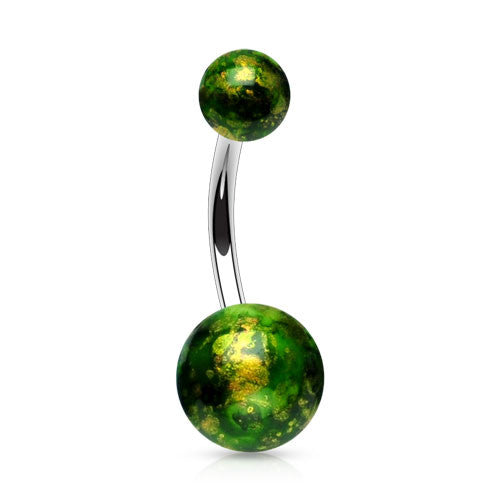 Deep Forest Green Fossil Acrylic Belly Bar