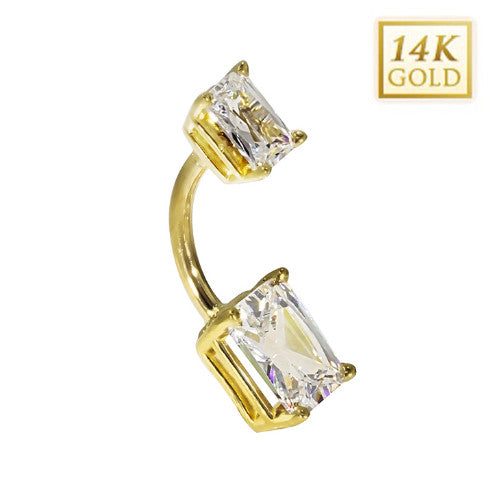 14k Yellow Gold Emerald Cut April Belly Ring