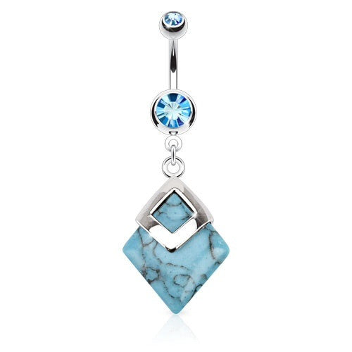 Semi Precious Diamond Shaped Turquoise Stone Dangling Navel Piercing