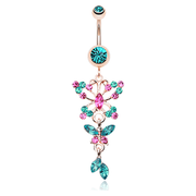 Teal Fantasy Butterfly Belly Button Bar