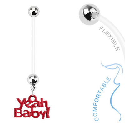 """Yeah Baby"" Dangling Pregnancy Navel Ring"