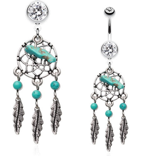 Natural Turquoise Stone Belly Rings