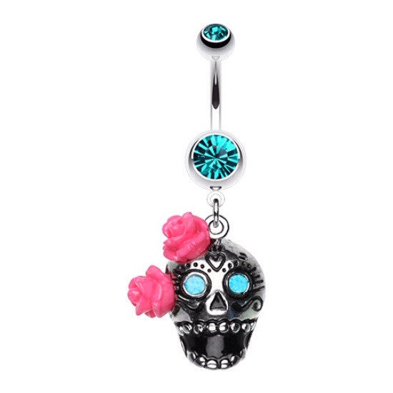 Double Rose Sugar Skull Dangle Navel Ring