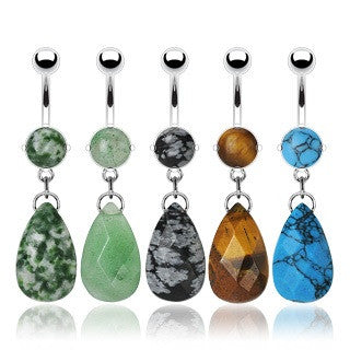 Tear Drop Precious Stone Dangling Belly Button Ring