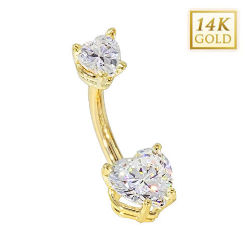 CZ Hearts Solid Yellow Gold Belly Bar (April)