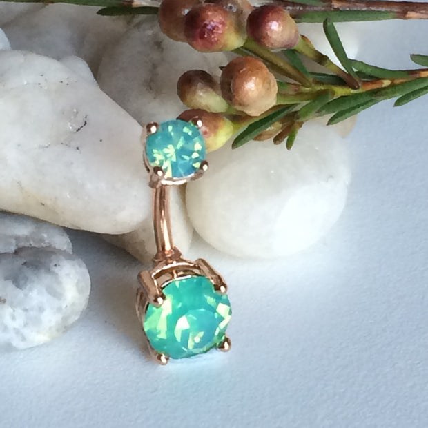 Jade Delight Rose Gold Glamour Belly Bar