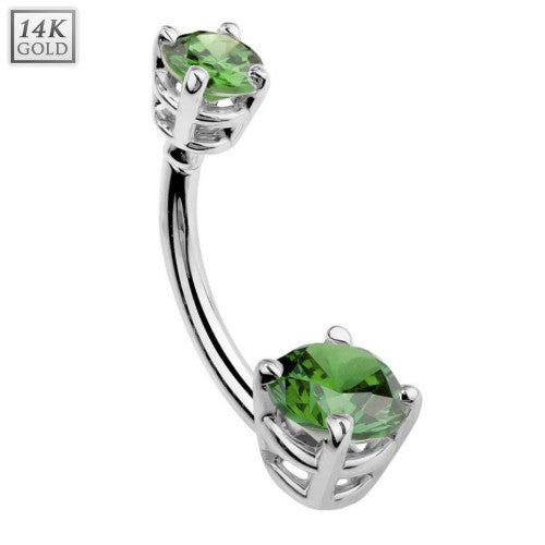 Double Round Emerald Gem Solid 14k White Gold Belly Button Ring