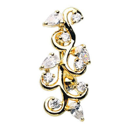 Gold Plated Vine Top Down Belly Ring