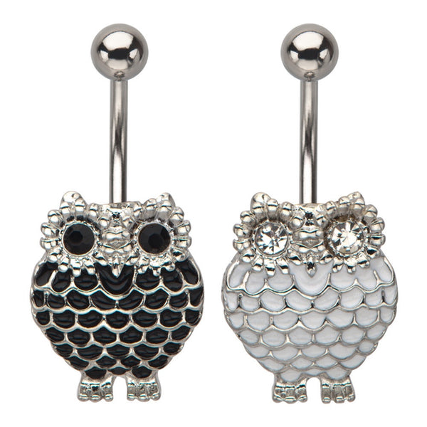 Night Owl With Clear Cubic Zirconia Gems Fixed Animal Belly Ring
