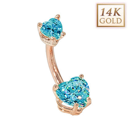 Aquamarine Hearts Solid Rose Gold Belly Bar (March)