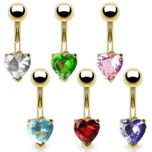 Heart Crystal 14K Gold Plated Fixed/Anchored Belly Ring