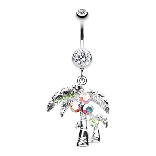 Summer Paradise Palm Tree Belly Button Ring