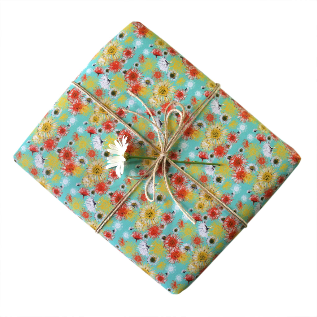Daisy A Day Blue Gift Wrapping Paper