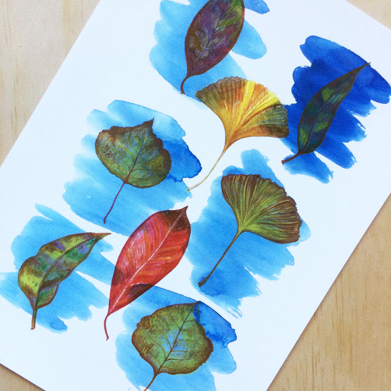 Autumn Leaves Nature Print A4