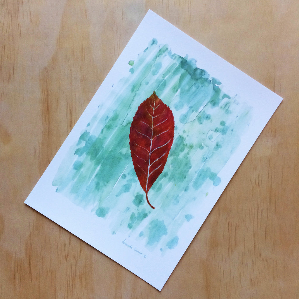 Red Leaf Nature Print A4