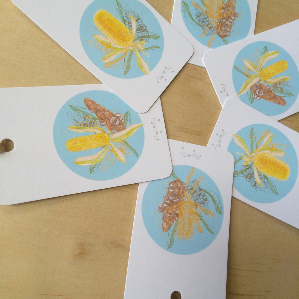 Golden Banksia 6 Gift Tags