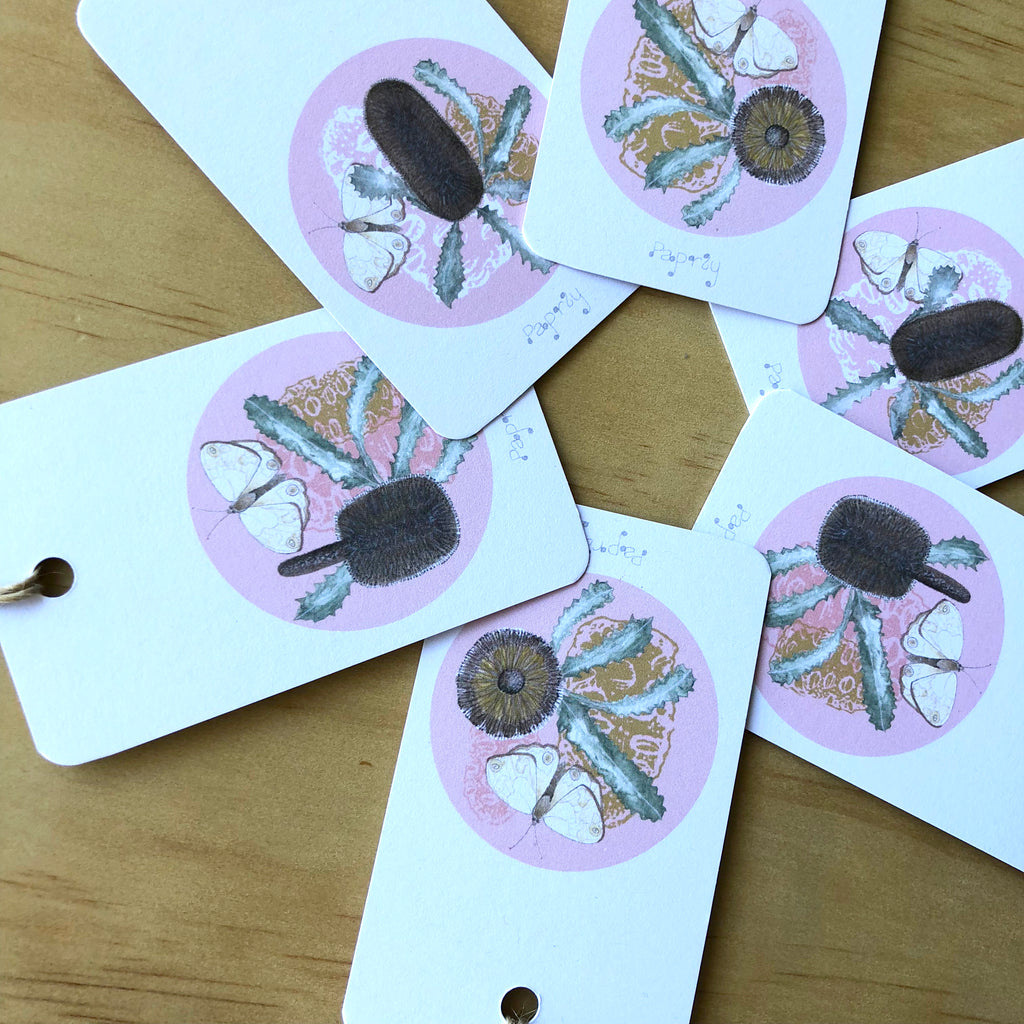 Brown Banksia and Bush Butterfly  6 Gift Tags