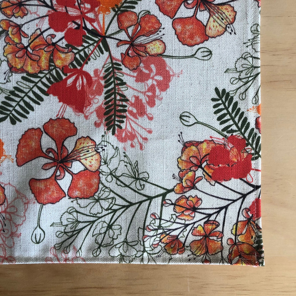 Tropical Poinciana Tea Towel