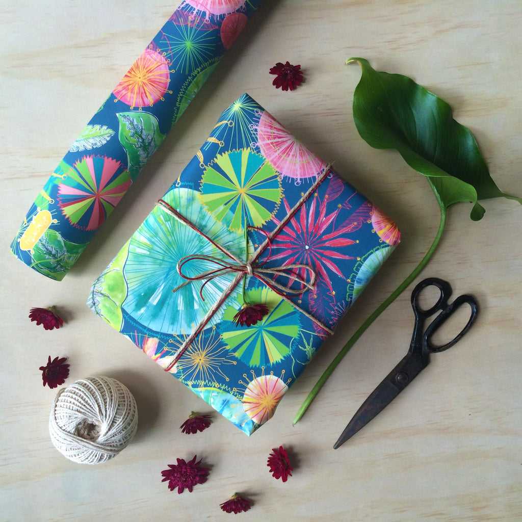 Fan Palm and Firewheel Flowers Gift Wrapping Paper
