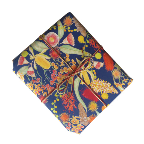 Australian Botanicals Blue Gift Wrapping Paper