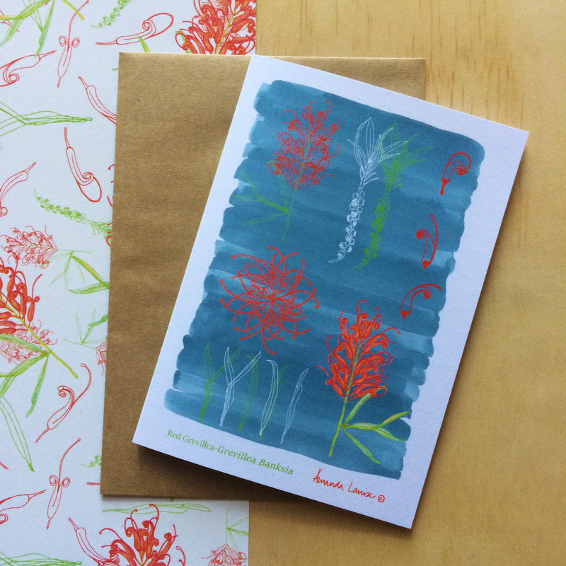 Red Grevillea Greeting Card