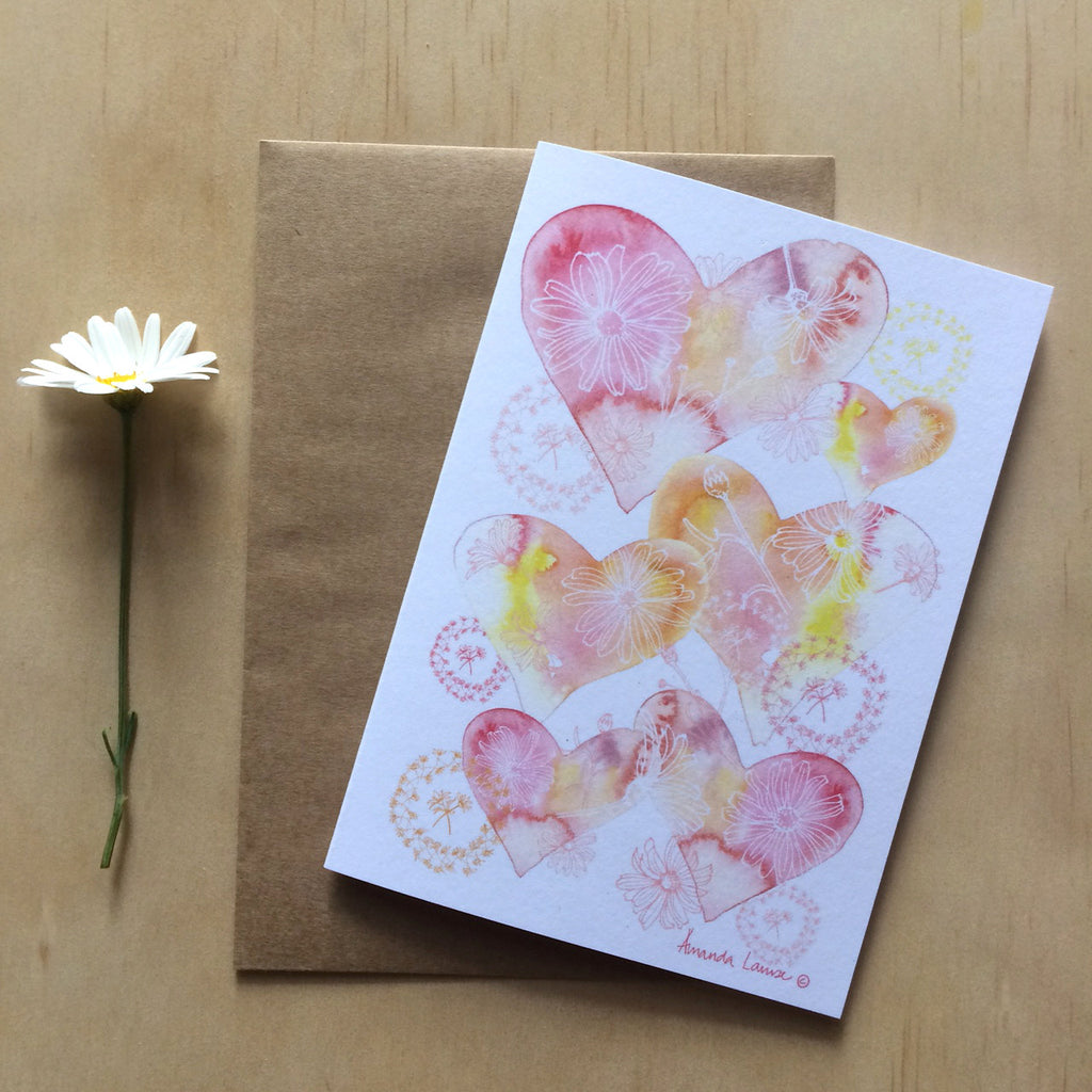 Hearts and Daisy Chains Greeting Card