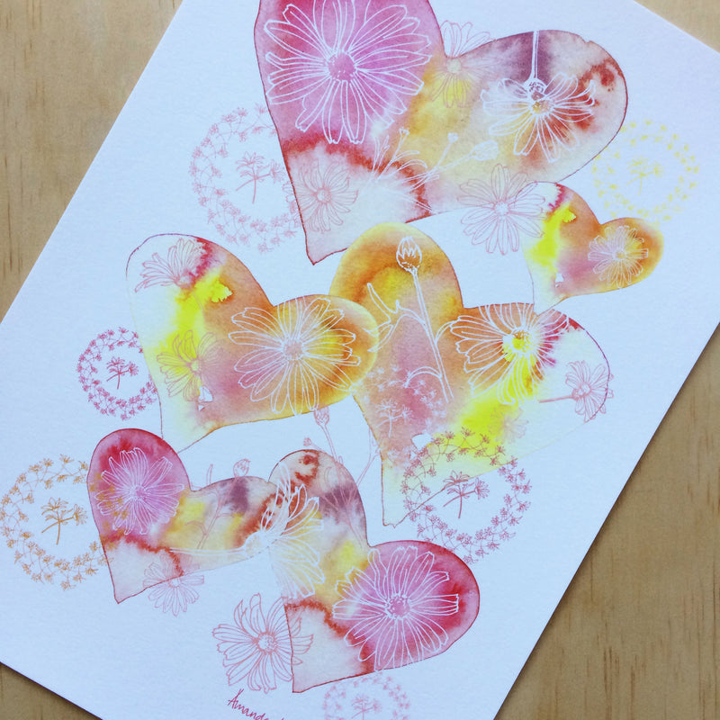 Hearts and Daisy Chains Print A4