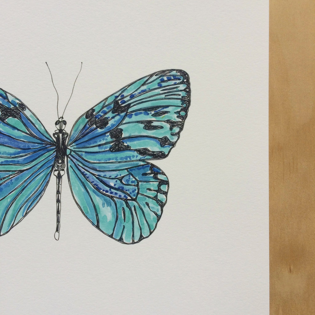 Butterfly Blues Nature Print A4