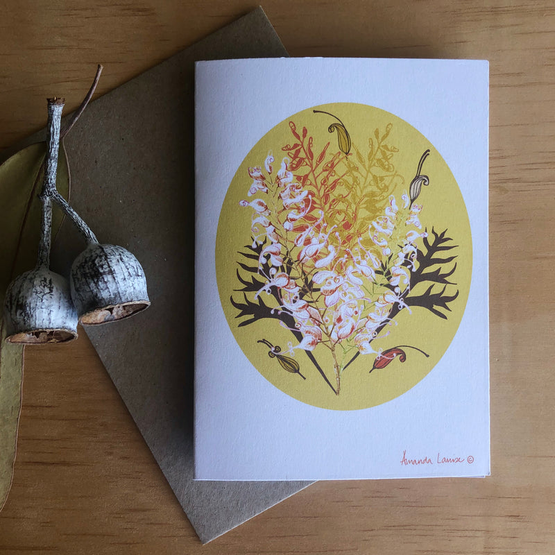 Bush Grevillea Greeting Card -Raising money for our Farmers