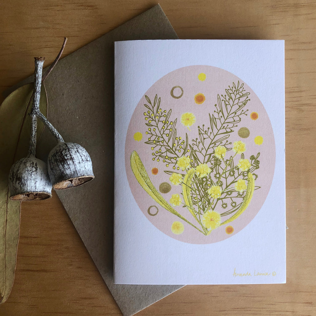 Bush Wattle Greeting Card -Raising money for our Farmers