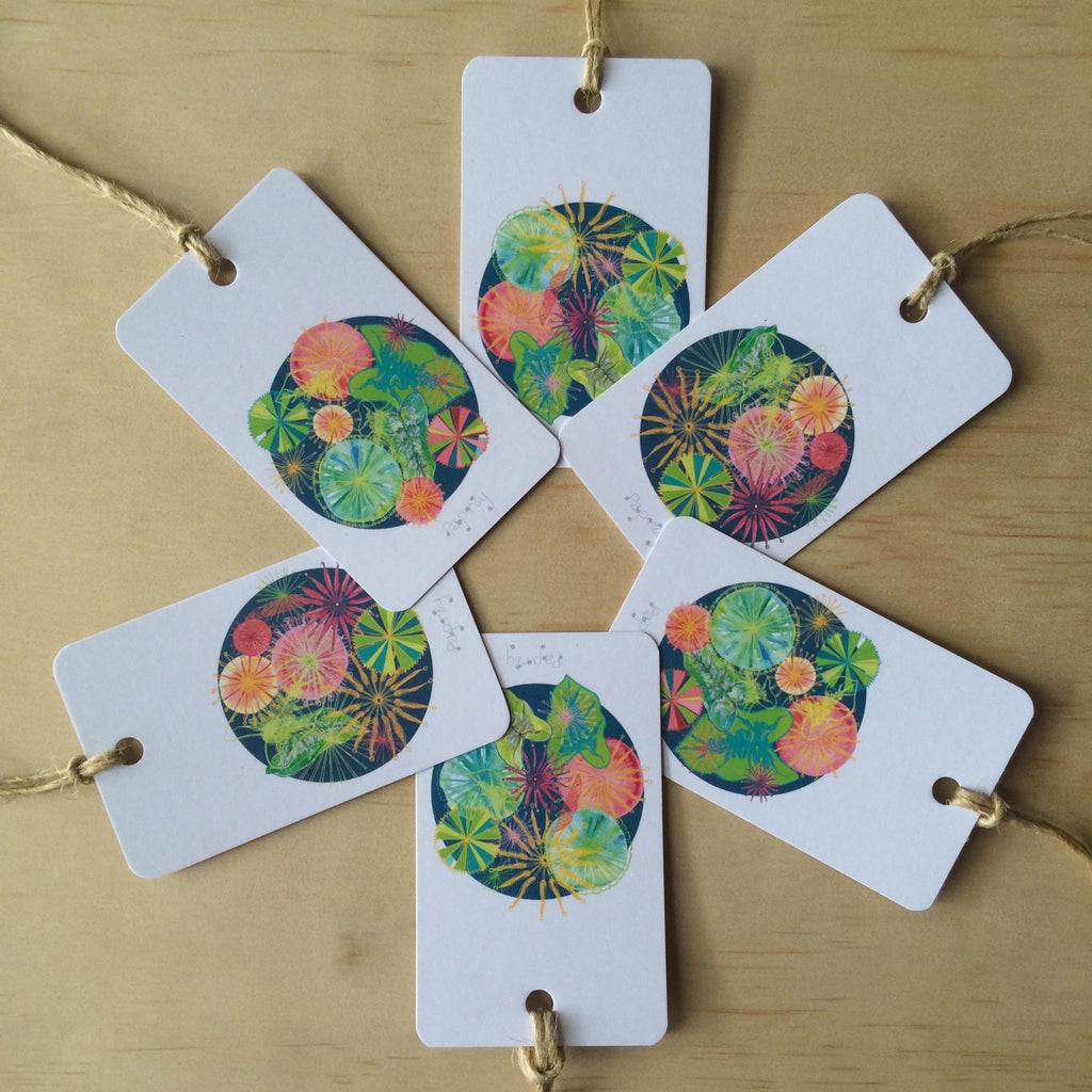 Jungalow Fan Palm and Firewheel Flowers  6 Gift Tags