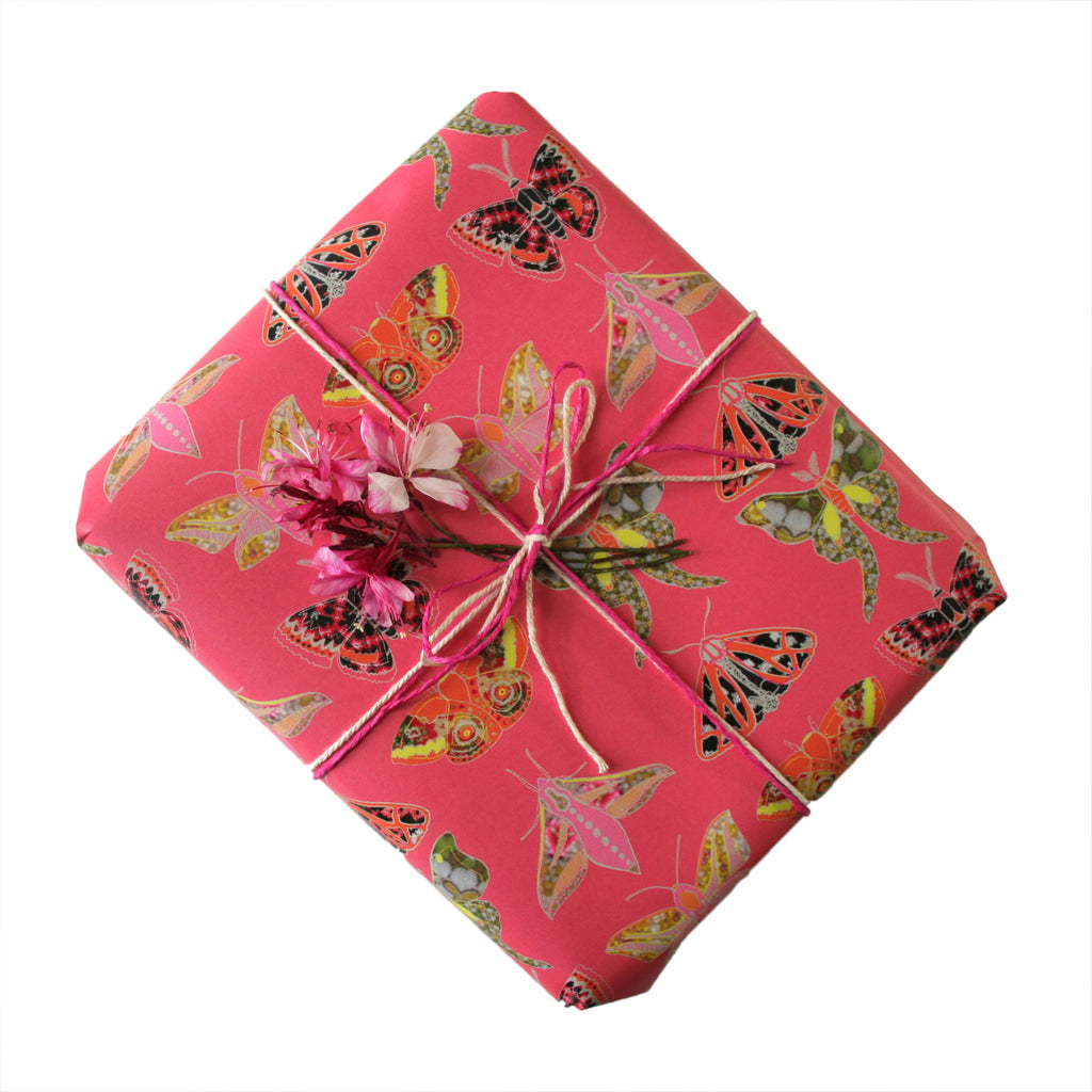 Winter Moth Pink Gift Wrapping Paper