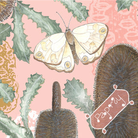 Brown Banksia and Bush Butterfly Gift Wrapping Paper