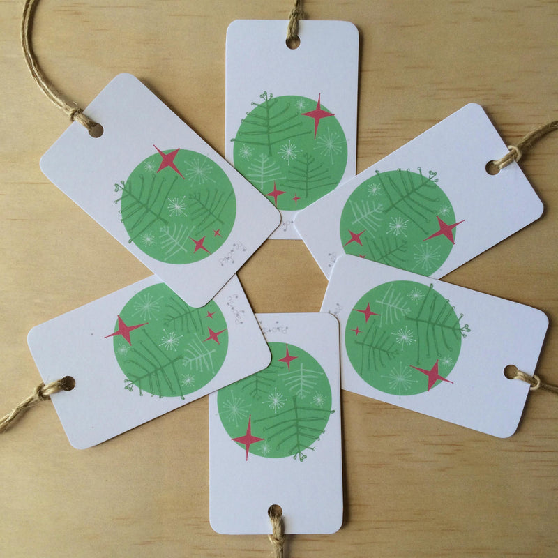 Retro Christmas Trees 6 Gift Tags