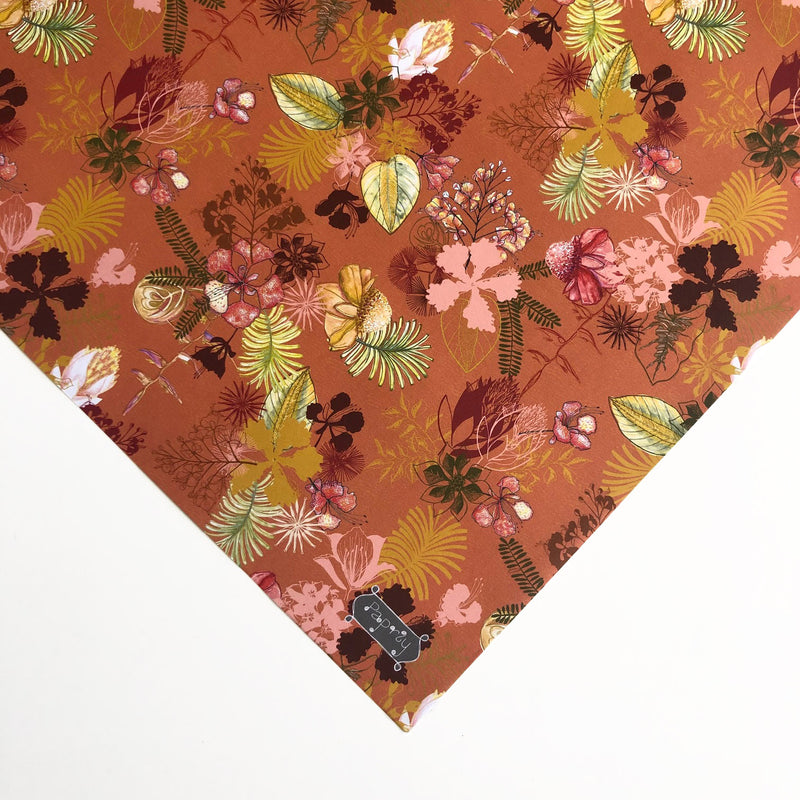 Tropical Christmas Spice Rust Red Gift Wrapping Paper