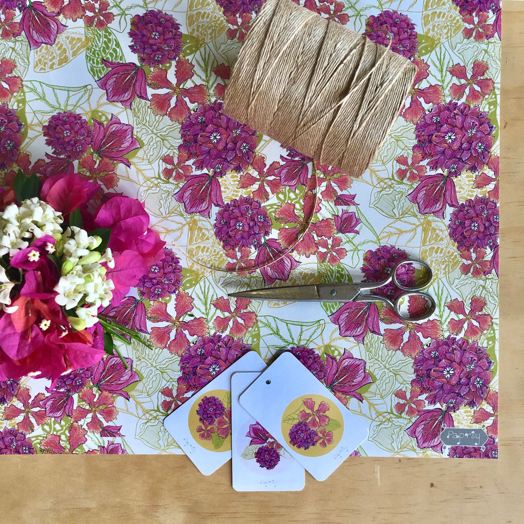 Tropical Bougainvillea Wrapping Paper