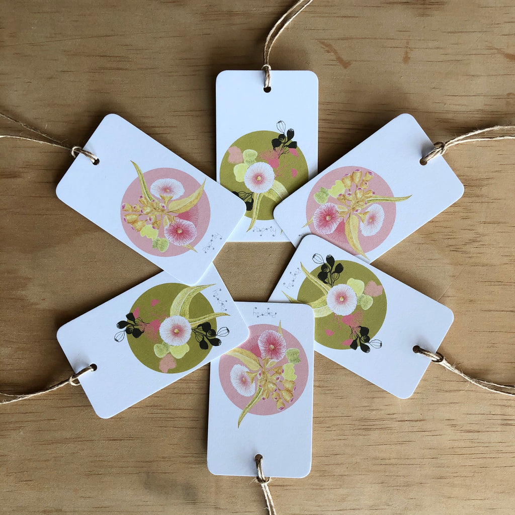 Pink Gum Blossom 6 Gift Tags