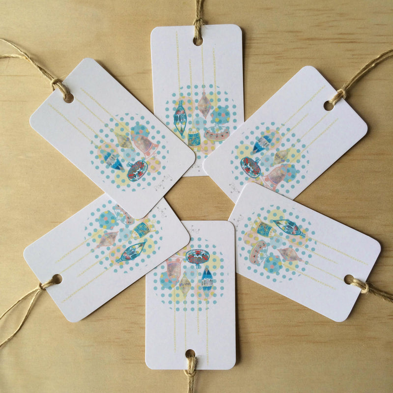 Retro Christmas Baubles 6 Gift Tags