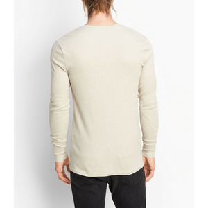 Vince - Rib Knit Henley - Heather Dark Stone