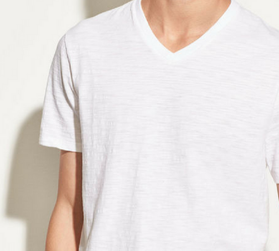 Slub V Neck - Optic White